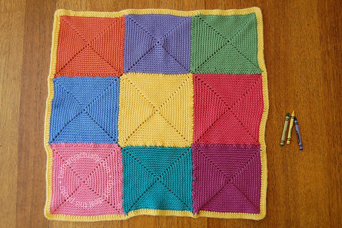 colorful nine-patch spiral-square  baby blanket