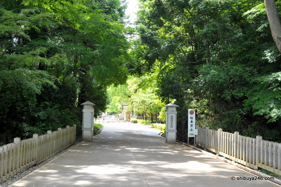 Entering the gardens at Takeda Shrine.
