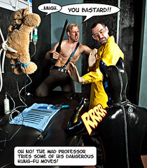 Comic 07 - Inspector Fox (WF portraits) Tags: bear blue portrait dog black male yellow club fetish naked beard model uniform comic teddy muscle chest location rubber story fox latex professor mad cuffs