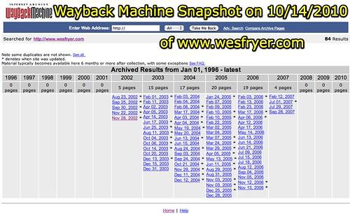 Wayback Machine Snapshot on 10_14_2010