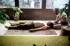 61-202 (nick dewolf photo archive) Tags: shirtless people man color male men film feet boston yoga 35mm beard 1974 massachusetts nick massage shiatsu barefoot barefeet facialhair mass 1970s stretching bearded 61 prone dewolf masseur massaging yogagroup nickdewolf photographbynickdewolf reel61