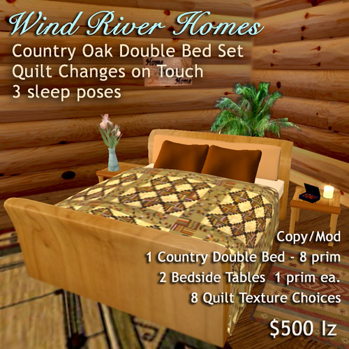 Country Oak Double Bed Set - Wind River Homes by Teal Freenote