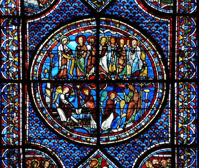Mary Magdalene at the tomb - Chartres cathedral Medieval stained glass