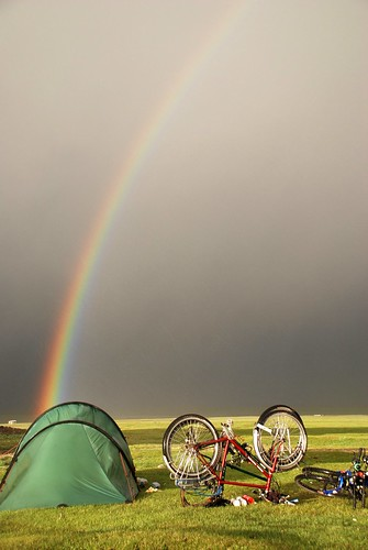 A Rainbow over our tent after a storm at Lake Song-Kol, Kyrgyzstan