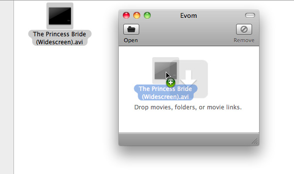 Drag video file into Evom