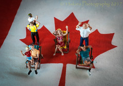 Fans  (HMM) (13skies) Tags: fun canada celebration watching macro mondays small homodelrailroadfigures flag symbol 150 age