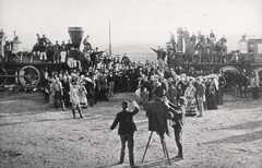"The Final Hour, The Wedding of the Rails Which Welded the Nation. Scene from ""The Iron Horse"" by Edwin C. Hill. NY: Grosset & Dunlap, (1924). Photoplay edition. (lhboudreau) Tags: book books hardcover hardcovers hardcoverbook hardcoverbooks fiction historicalfiction novel fictionnovel fictionstory bookart movietiein photoplay photoplayedition movie silentmovie motionpicture film grossetdunlap 1924 foxfilms foxfilm williamfox edwinchill edwinhill classicmovie vintagebook vintagemovie ironhorse theironhorse railway transcontinental railroad americanhistory historicalnovel romance silentfilm johnford johnfordproduction locomotive steamlocomotive train western westerns oldwest novelization charleskenyon johnrussell theeastandthewest moviescene scene promontorysummit unionpacific centralpacific utah jupiter railroadengines railroadtrains 119 promontorypoint antiquetrain antiquetrains"