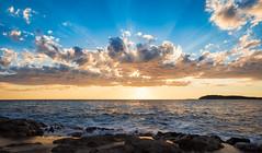 Early summer (www.instagram.com/matejduzel/) Tags: summer sunset blue sky waves sea adriatic pula croatia hotel brijuni verudela day sun orange clouds cloudy cloud wind seascape landscape lumix gh4 beach rocks