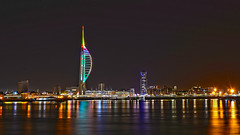 Reflections (David R Carter) Tags: night christmas lights reflections spinnakertower portsmouth uk seascape sea harbour tower