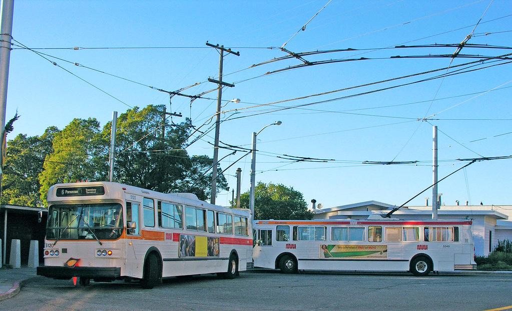San Francisco Muni Line 6 -  5120 & 5345 at 14th & Quintara terminus