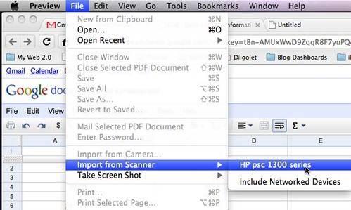 Scanning from Preview Application in Mac OS X