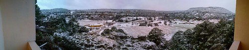 Panorama of a snowed over Creel