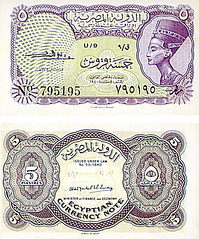 5 piasters - Date Of Issue; 1952 (Tulipe Noire) Tags: africa 5 five egypt middleeast 1950s egyptian currency nefertiti 1952 banknote piaster