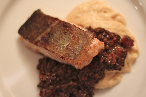 cod with spiced lentils and silky mash