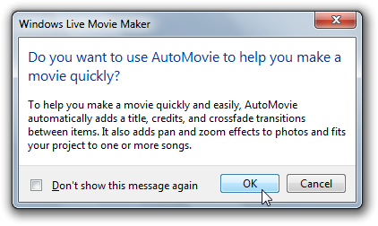 Windows Live Moviemaker AutoMovie