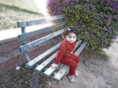 Alone in peace (Umair Khan Jadoon) Tags: light red cute green girl bench dress purble