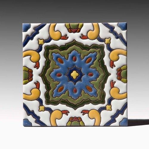 Fireclay San Sebastian Cuerda Seca Decorative Tile - Mediterranean Colorway