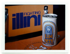 For the Illini Fan (Offbeat Photography) Tags: film beer shirt polaroid fuji stadium seat chief large illini instant 4x5 format calumet