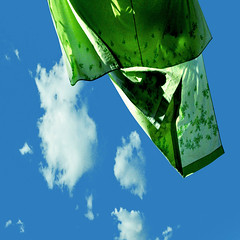 green shade (pannaphotos) Tags: blue sky green clouds blind wind laundry shade sheet clotheslines washing