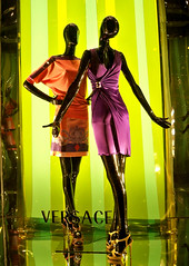 Versace Vibrants (Viridia) Tags: nyc newyorkcity urban newyork mannequin fashion mannequins dress manhattan nightshoot dresses fifthavenue versace storewindows newyorkny windowdisplays winterspring newyorkcityny westsidenyc 5thavenuenyc midtownnyc versacewindows versacewindowdisplays