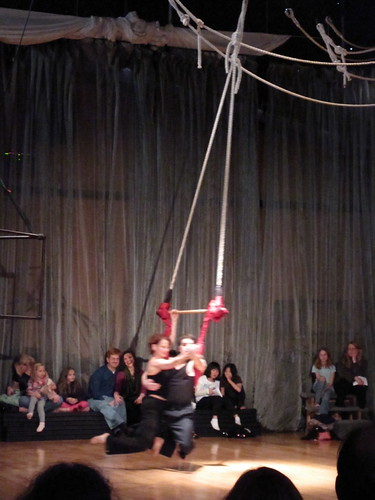 Ellen and Nathan on the trapeze.