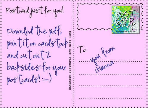 Postcard backside – free to print