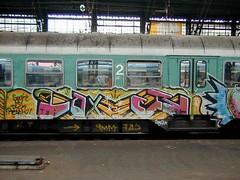 Graffiti in Köln Cologne 2002 (kami68k -all over-) Tags: 2002 train graffiti cologne taj köln illegal deutschebahn bombing bunt 9mm faxr faxer