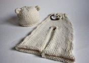 Bear Cub set - cabled merino longies & knit hat- newborn