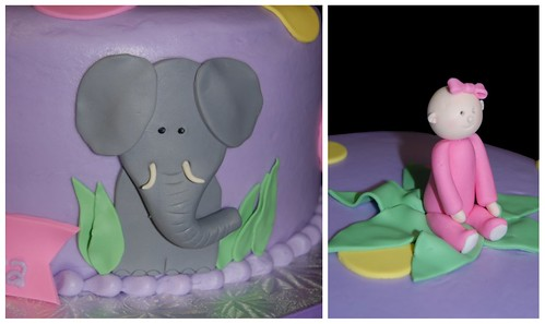 Elephant and Monkey Jungle Themed Baby Shower Cake with Baby Girl Topper - closeup collage