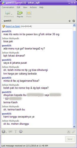 Pesan Delivery bu Chat