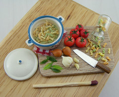 Pasta Fusili Preparation Board (Shay Aaron) Tags: italy food house scale kitchen dinner tomato miniature leaf italian doll handmade board fake mini pasta pot polymerclay fimo tiny meal jar garlic faux basil onion spaghetti 12th 112 pesto preparation dollhouse petit ingredient clove twelfth boilingwater fusilli   threecolored  fusili                         twistedspaghetti