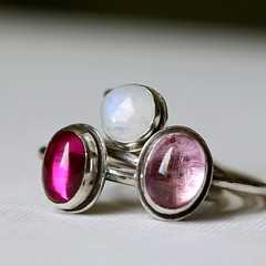 Spring Mix Stacking RIng Set (ThirtySixTen) Tags: cluster jewelry ring ruby gem jewel sapphire moonstone gemstone silversmith metalsmith sterlingsilver stackingrings