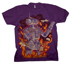 Robot Attacks : Tee-Eggplant (raz city) Tags: boy urban dog strange face tongue death three kid clothing bottle fight friend child hand heart faces cartoon attack surreal style tshirt battle cyclops robots artsy popart shirts cuddly terror demon bolts swirl monsters lightning gentrification bleeding psychedelic creatures apparel grimreaper teeshirts tees fasion 3brothers heartless tvtvhead
