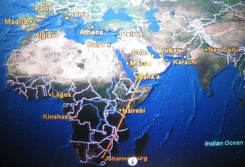 Flying over Ethiopia en route to Cape Town