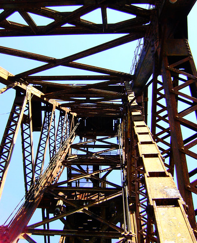 Truss Railroad Lift Bridge over Cedar Bayou, south of Spur 55, Baytown, Texas 0228101435