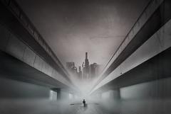 Where dreams lose themselves (ne6ea/Svante Oldenburg) Tags: city bridge mist texture fog photoshop boat mood escape emotion decay under surreal monotone million babylon ne6ea dreamtraveler