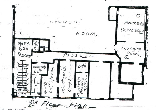 Floor plan for the second floor of the Joplin Police Station