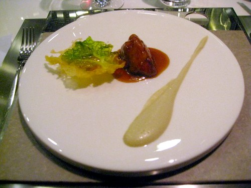 Bo Innovation - Hong Kong - January 2010 - Sweetbread, Oyster Sauce, Lettuce Tempura, Artichoke Puree