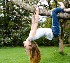 (5/365) maybe i can't defy gravity. (m.corkill) Tags: tree girl words gravity hanging gripping