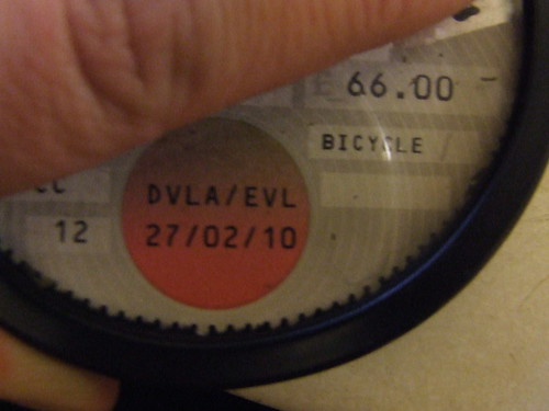 James's EVL taxdisk for his bicyce lol!