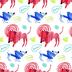Pattern dog katia and lion kolia zoom (Maria Mie) Tags: blue red dog pet art fashion animal illustration digital print fun zoo colorful pattern drawing background character lion style clothes textile doodle ornament poodle question mie multicolor freaks freelance mieee  pensil                         mariamie    decoreative
