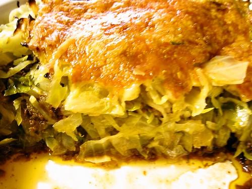 キャベツとひき肉の重ね焼き/断面