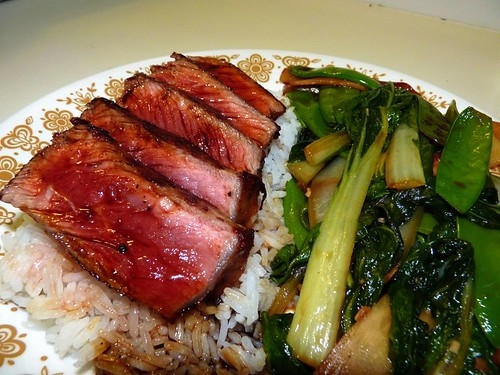 Steak Teriyaki with stir-fried greens