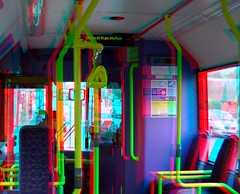 On a London bus in 3D anaglyph stereo red cyan...