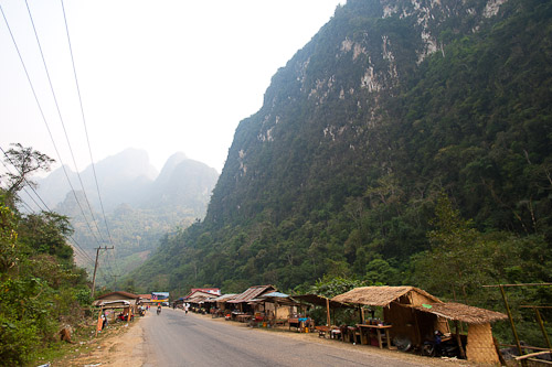 A roadside market selling jungle animals, Pha Hom, north of Vang Vieng, Laos