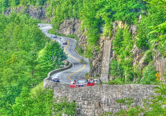 Hawks Nest in HDR (joiseyshowaa) Tags: auto road park new york travel trees vacation cliff cars nature stone wall rural turn port river drive state nest pennsylvania scenic s route pa upper national penn delaware twisty 97 jervis hawks turny hawksnest joiseyshowaa joiseyshowa