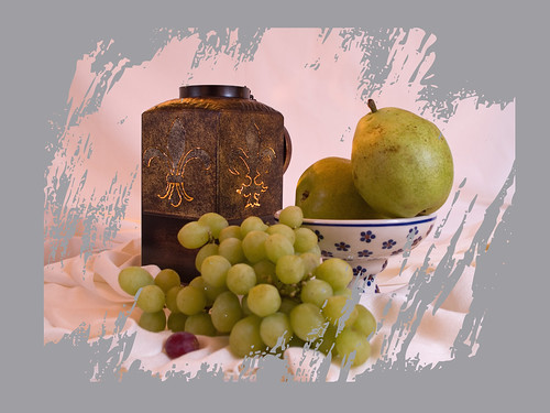 Pears, grapes and candle holder 1