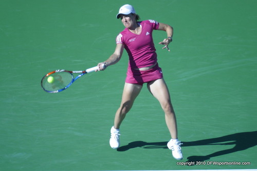 Justine Henin at the 2010 BNP Paribas Open at Indian Wells, CA