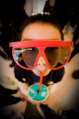 Mmmmmm.................... (Mike Chen aka Full Time Taekwondo Dad) Tags: blue red fun glasses 3d aqua theater drink sony fisheye slurpee slurping icee a900 sal16f28