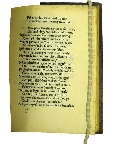 Opening page of Pius II, Pont. Max.: Epistola ad Mahumetem